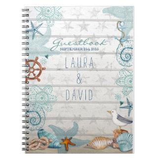 Nautical Beach Wedding Guestbook Spiral Notebook