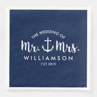 Nautical Beach Wedding Navy Blue Anchor Custom Paper Dinner Napkin