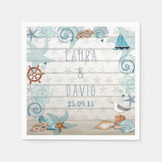 Nautical Beach Wedding Paper Napkins