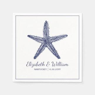Nautical Beach Wedding Rustic Navy Blue Starfish Napkin