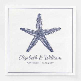 Nautical Beach Wedding Rustic Navy Blue Starfish Paper Dinner Napkin