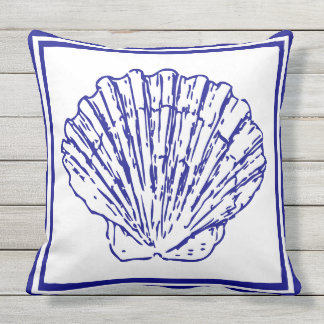 Nautical Beautiful Clean design blue Shell Outdoor Pillow