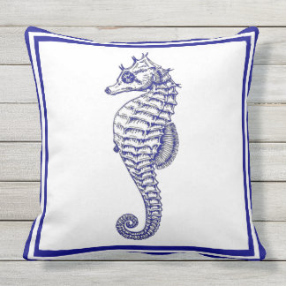 Nautical Beautiful Trendy blue Seahorse Outdoor Pillow