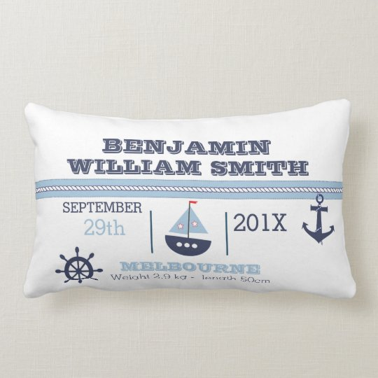Nautical Birth Announcement Cushion For Boy