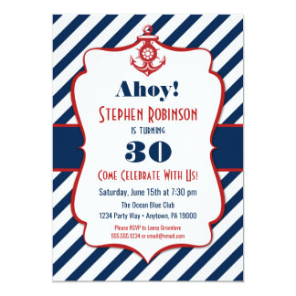Nautical Birthday Invitation - Adult Mens Anchor