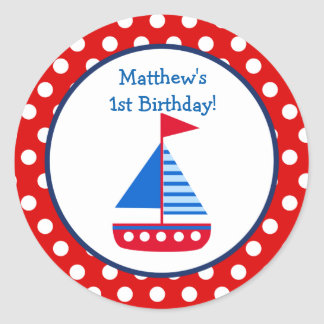 Nautical Birthday Party Favor Stickers