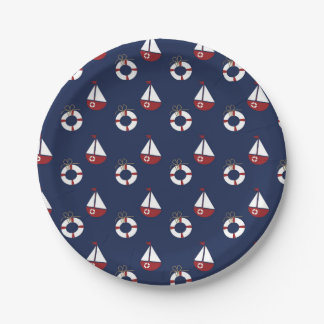 Nautical Birthday Party Ocean Pattern Paper Plates 7 Inch Paper Plate