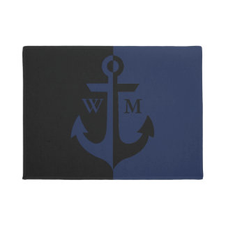 Nautical Black and Navy Blue Anchor Monogram Doormat