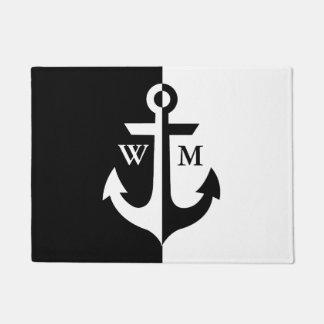 Nautical Black and White Anchor Monogram Doormat