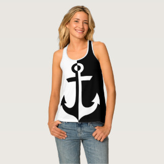 Nautical Black and White Anchor {pick your color} Tank Top