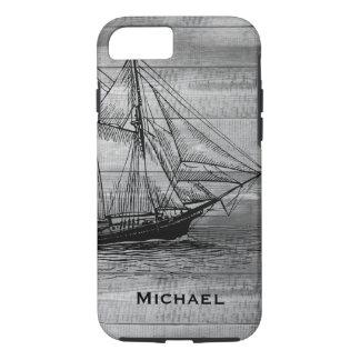 Nautical Black Ship Schooner & Gray Wood Planks iPhone 8/7 Case