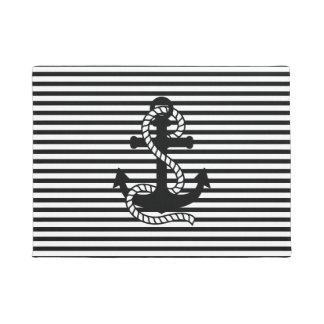 Nautical Black White Stripes and Black Anchor Doormat