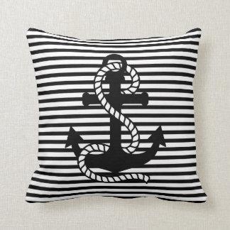 Nautical Black White Stripes and Black Anchor Throw Pillow