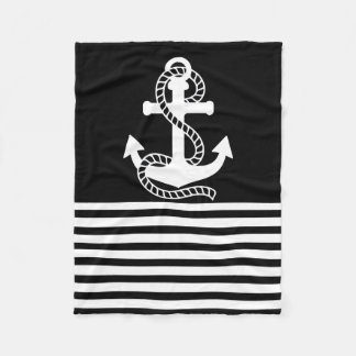 Nautical Black White Stripes and White Anchor Fleece Blanket