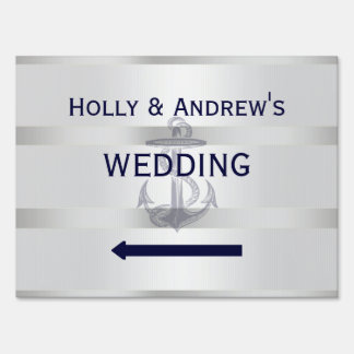 Nautical Blu Anchor White BG Wedding Sign Medium