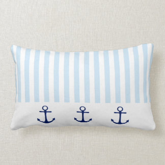 Nautical Blue Anchor and White Stripe Pillow