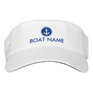 Nautical Blue Anchor Boat Name Visor