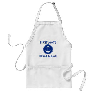 Nautical Blue Anchor First Mate Boat Name Apron