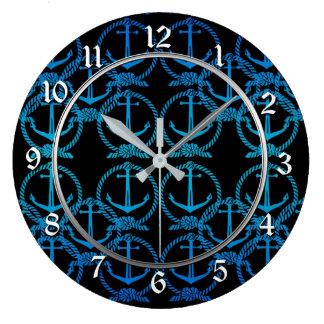 Nautical Blue Anchor Motif Round Wall Clock