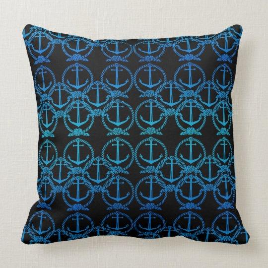 Nautical Blue Anchor Motif Throw Pillow