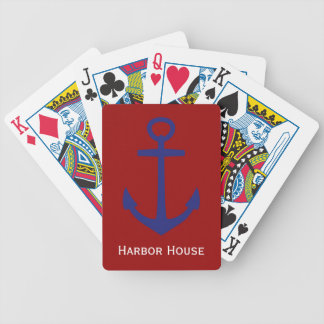 Nautical Blue Anchor on Red Personalized Bicycle Playing Cards