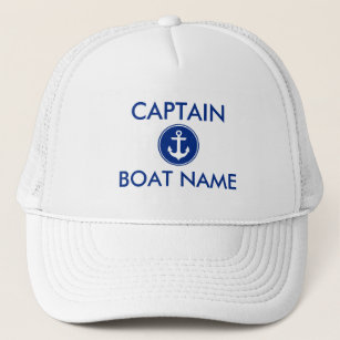 1ea437401fe Nautical Blue Anchor Personalize Boat Captain Hat