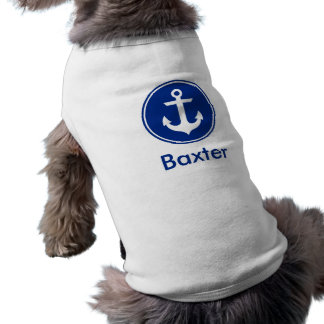 Nautical Blue Anchor Personalized Dog Shirt