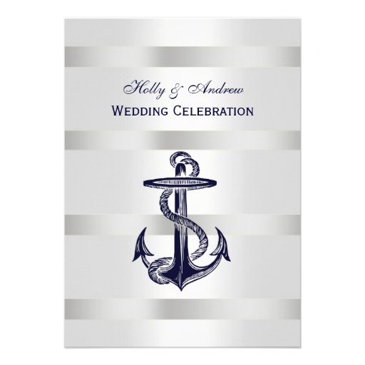 Nautical Blue Anchor Silver Wt BG V Wedding Custom Invite