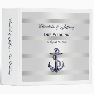 Nautical Blue Anchor Silver Wt BG Wedding Binder