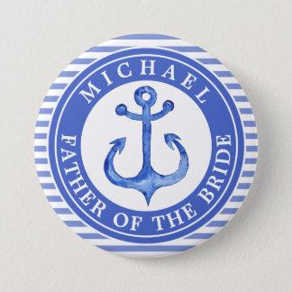 Nautical Blue Anchor Striped Wedding Party Button