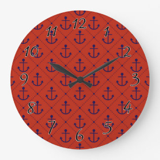 Nautical Blue Anchors on Red Clock