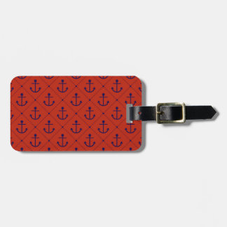 Nautical Blue Anchors on Red Luggage Tag