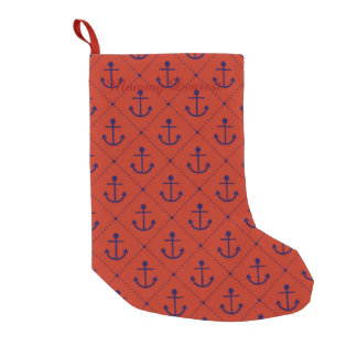 Nautical Blue Anchors on Red Small Christmas Stocking