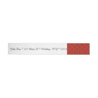 Nautical Blue Anchors on Red Wraparound Address Label