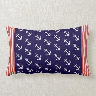 Nautical Blue Anchors Stripes Throw Pillow