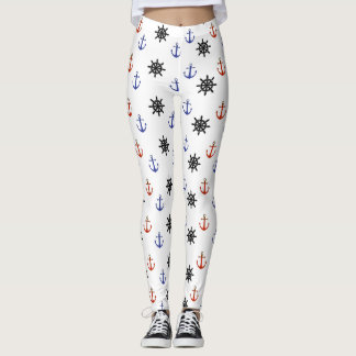 Nautical Blue and Red Anchors and Wheels Leggings