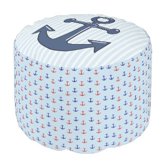 Nautical Blue and Red Anchors Pouf