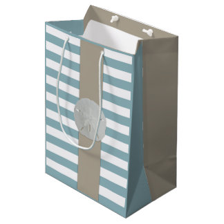 Nautical Blue and Tan Striped Gift Bag