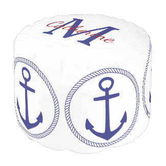 Nautical Blue and White Anchor Monogram Pouf