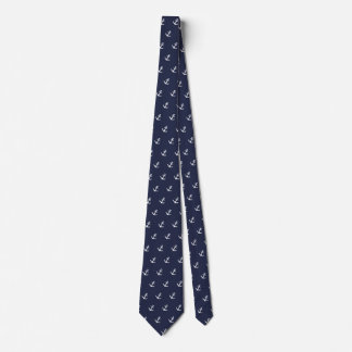 Nautical Blue and White Anchor Tie