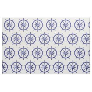 Nautical Blue and White Ship Wheel Fabric