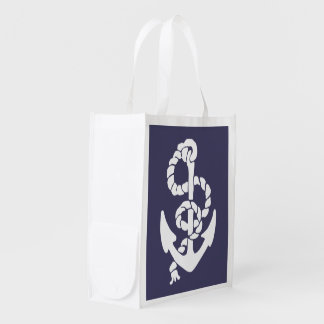 Nautical Blue And White Ships Anchor And Rope Grocery Bag