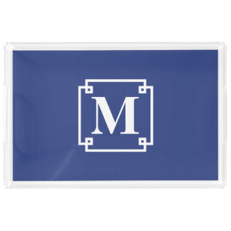 Nautical Blue and White Smart Monogram Acrylic Tray
