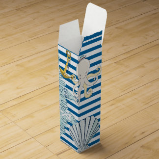 Nautical Blue and White Stripe Wine Gift Box