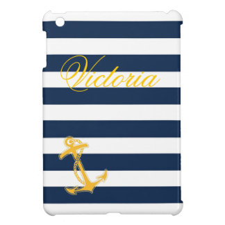 Nautical Blue and White Stripes iPad Mini Case
