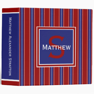 Nautical Blue and White Stripes on Red Monogram Binder