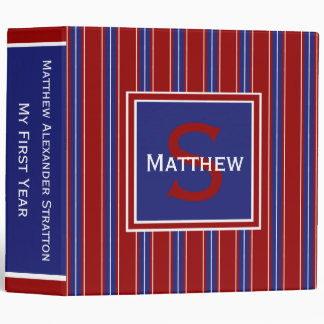 Nautical Blue and White Stripes on Red Monogram Vinyl Binders
