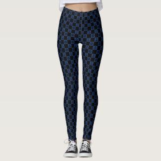Nautical blue black checkered leggings