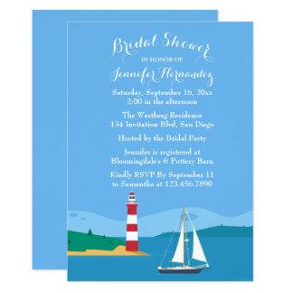Nautical Blue Bridal Shower Lighthouse & Sailboat Card