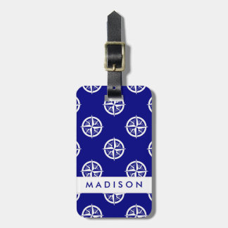 Nautical | Blue Compass Pattern Luggage Tag